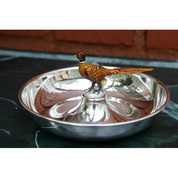 Silver Plated Round Tray Pheasant