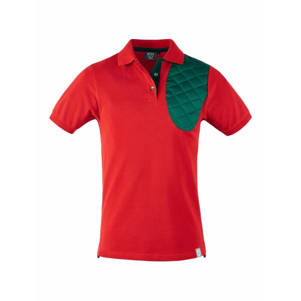 Poloshirt f. Linkshänder in rot/british green, Kurzarm