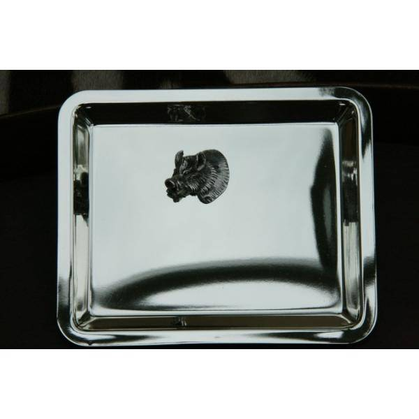 Silver Plated Tray with Boar Head
