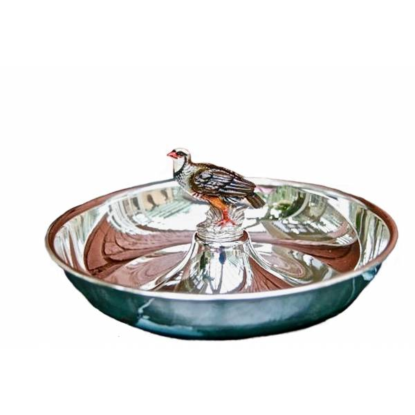 Silver Plated Round Tray Partridge