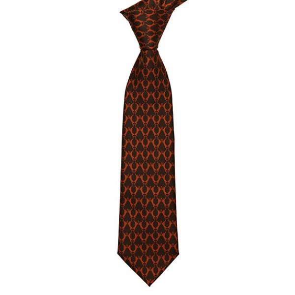 Printed Boxing Hare Printed Tie Chocolate